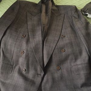 Men Canali double breasted suit size 42 brown.